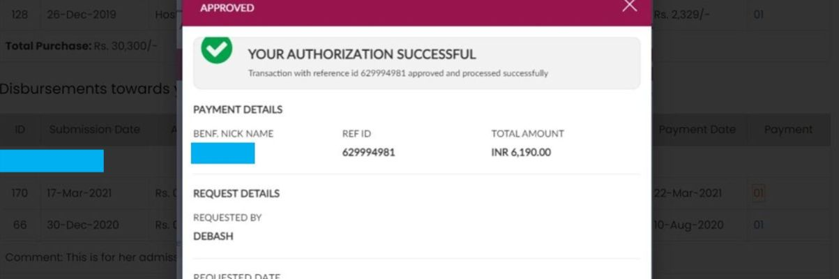 Bank confirmation on transaction